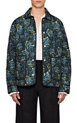 Burberry X Barneys New York Men's Floral Print Quilted Barn Jacket Turquoise