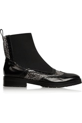 Christopher Kane Leather And Python Chelsea Boots Black