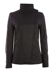 Andrew Marc New York Pu Biker Jacket With Jersey Panels Black