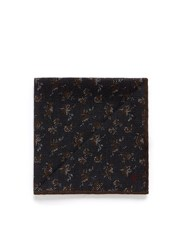Isaia Small Floral Print Wool Silk Pocket Square Multi Colour