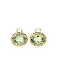Oval Green Amethyst And Diamond Earring Drops 18K Yellow Gold Kiki Mcdonough