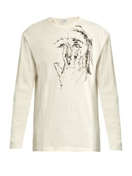 Yohji Yamamoto Drawn Scribble Print Cotton T Shirt White