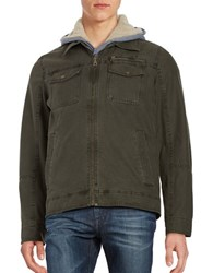 Guess Faux Fur Trimmed Jacket Olive