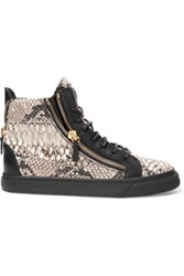 Giuseppe Zanotti Snake Effect Leather High Top Sneakers Gray