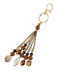 Nakamol Agate And Crystal Beaded Tassel Key Chain Gold