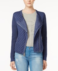 Tommy Hilfiger Quilted Moto Cardigan Only At Macy's Dark Denim