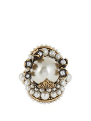 Gucci Pearl Effect Embellished Flower Ring