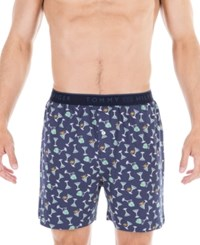 Tommy Hilfiger Martini Print Knit Boxers Delf Blue