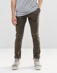 Asos Skinny Cotton Trousers With Knee Rip In Dark Khaki Forest Night Green