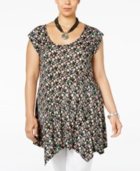 American Rag Trendy Plus Size Printed Handkerchief Hem Tunic Only At Macy's Classic Black Combo