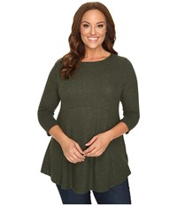 B Collection By Bobeau Curvy Plus Size Brushed Babydoll Hemline Knit Dark Green Women's Sweater