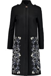 Tory Burch Remy Embroidered Wool Blend Coat Black