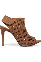 Pedro Garcia Sofia Perforated Suede Platform Sandals Tan