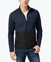 Alfani Men's Colorblocked Knit Jacket Only At Macy's Neo Navy Combo