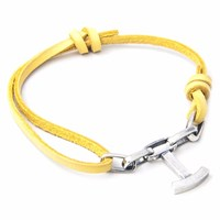 Anchor And Crew Mustard Yellow Schooner Leather Silver Bracelet Yellow Orange