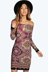 Boohoo Geo Paisley 70'S Off Shoulder Dress Multi