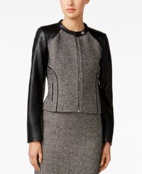 Calvin Klein Faux Leather Tweed Moto Jacket Black White