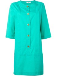 Celine Vintage Front Button Shirt Dress Green
