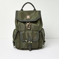 River Island Womens Khaki Flap Pocket Backpack