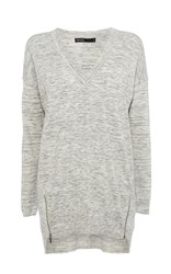 Karen Millen V Neck Tunic Knit Light Grey