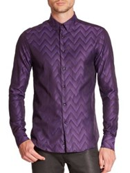 Versace Chevron Cotton Sportshirt Violet Black