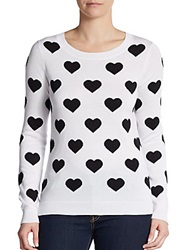 Saks Fifth Avenue Red Heart Roundneck Sweater White Black