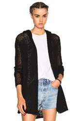 James Perse Hooded Cardigan Sweater In Black