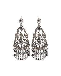 Jose And Maria Barrera Gunmetal Filigree Crystal Chandelier Earrings