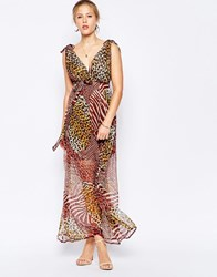 Traffic People Silk Maxi Dress In Mixed Animal Print Brown