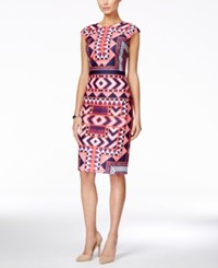 Vince Camuto Cap Sleeve Geo Print Midi Sheath Dress Coral Navy