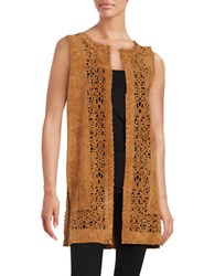 Design Lab Lord And Taylor Faux Suede Laser Cut Vest Brown