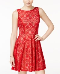 Speechless Juniors' Lace Fit And Flare Dress Dark Red