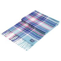 Joules Bracken Check Scarf Teal Multi