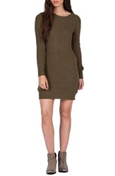 Volcom Women's Chained Down Cable Sweater Dress Military Green