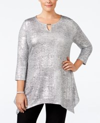 Jm Collection Plus Size Metallic Handkerchief Hem Top Only At Macy's Silver Disco Dot