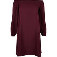 River Island Womens Dark Purple Bardot Swing Dress