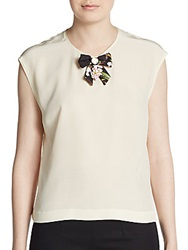Dolce And Gabbana Silk Bow Detail Shell Beige