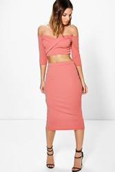 Boohoo Off The Shoulder Crop And Midi Skirt Co Ord Rose