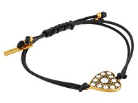 Marc Jacobs Crystal Heart Friendship Bracelet Crystal Antique Gold Bracelet Clear