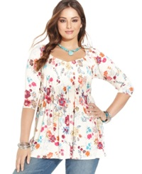 American Rag Plus Size Floral Print Babydoll Top Sand Shell Combo