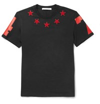 Givenchy Cuban Fit Star Appliqua Cotton Jersey T Shirt Black