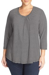 Sejour Plus Size Women's Stripe Three Quarter Sleeve Tee Black Ivory Stripe