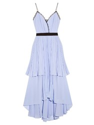 Self Portrait Bella Lace Trimmed Flounced Chiffon Dress Blue