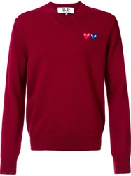 Comme Des Garcons Play 'Double Heart' Jumper Red
