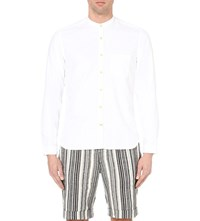 Oliver Spencer Mandarin Collar Cotton Shirt Astley White