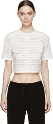 Public School White Sheer Striped Short Sleeve Cropped Top
