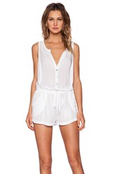 Velvet By Graham And Spencer Slub Rayon Challis Fleur Romper White
