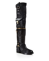 Moschino Leather Over The Knee Moto Boots Black