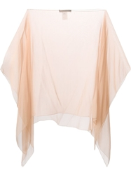 Alberta Ferretti Sheer Kaftan Top Nude And Neutrals