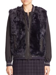 Brunello Cucinelli Zipped Front Fur Jacket Navy